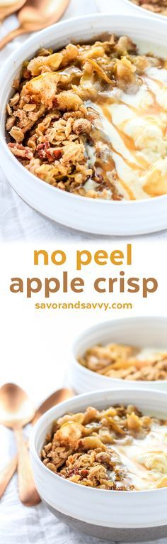 No Peel Apple Crisp Recipe with Oats Easy - Apple Crumble Recipe - Easy Apple Crisp Recipe - Fall Dessert Recipes Easy Thanksgiving Desserts Easy - Apple Recipes Dessert Baking - Easy Fall Desserts #Ad #SplendaSweeties #SweetSwaps @SPLENDA