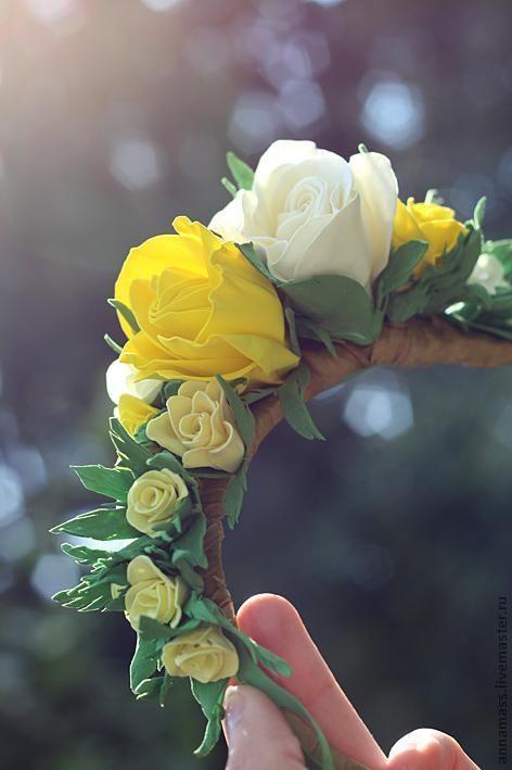 Цветы из фоамирана на ободке - Ярмарка Мастеров - ручная работа, handmade