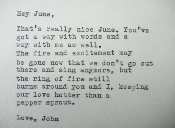 LOVE LETTER, by JOHNNY Cash to June Carter typed on a vintage typewriter by poets.torch