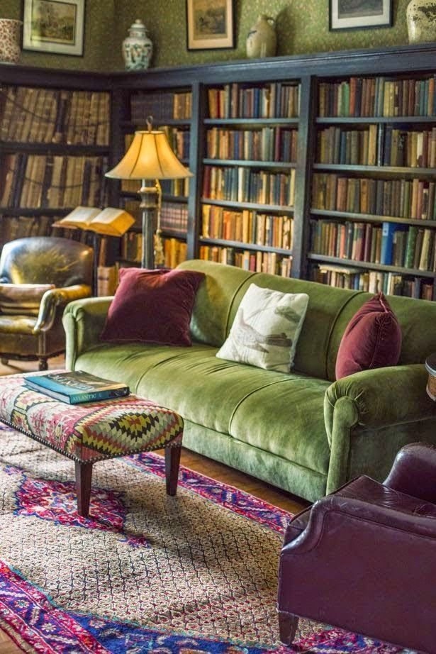Love this green sofa! ~Eye For Design: Decorating With Velvet Sofas.........Trendy For 2015