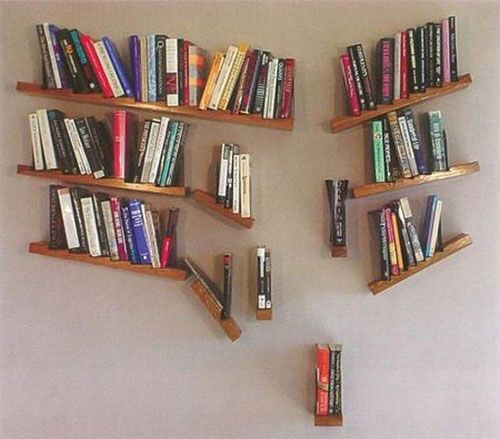 Some pretty awesome book shelves. I really want the falling one in the office.