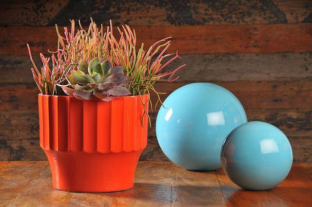 garden orbs and succulent pot