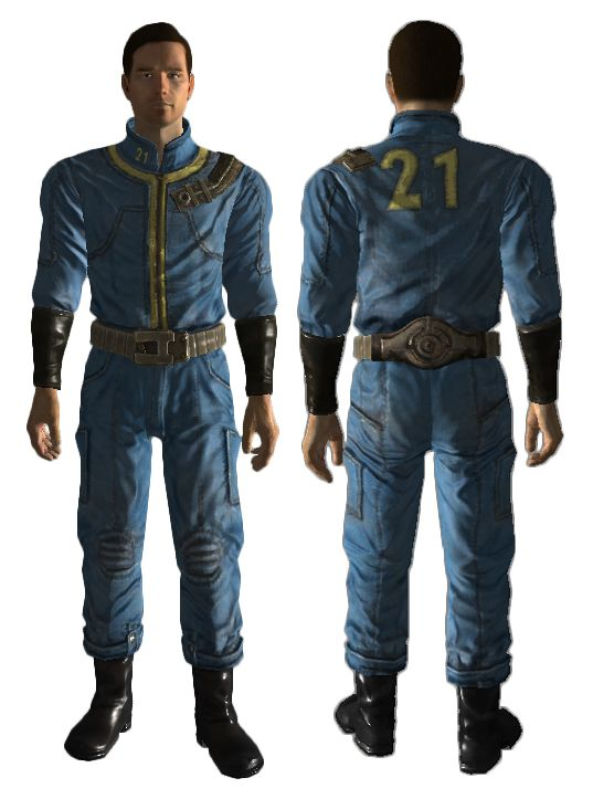 Vault jumpsuits are clothing that appear in all Fallout games. However, in Fallout and Fallout 2 they are worn by the player character by default and in Fallout 3, Fallout: New Vegas, Fallout 4, and Van Buren, they appear as actual in-game items. In Fallout Tactics and Fallout: Brotherhood of Steel, they are not usable by the player, they appear to be made out of a leather jumpsuit, the numbers are made of polyester, and the belt and other components are aluminum. Vault jumpsuits are the...