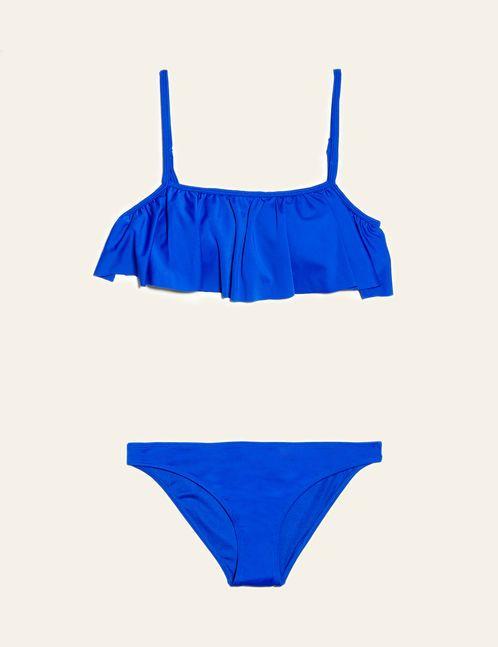 maillot de bain à volant bleu électrique