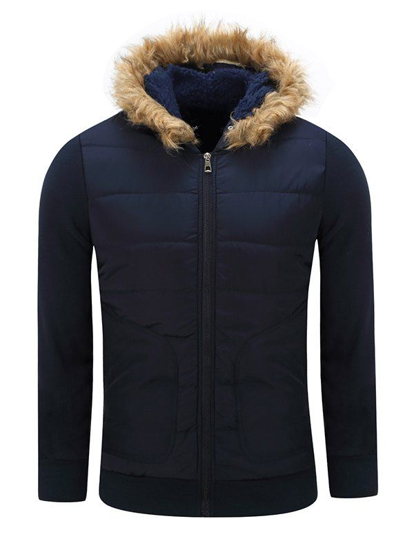 Thicken Furry Hood Zip-Up Cotton Padded Jacket #jewelry, #women, #men, #hats, #watches, #belts
