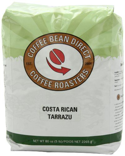 Coffee Bean Direct Costa Rican Tarrazu, Whole Bean Coffee, 5-Pound Bag - http://www.teacoffeestore.com/coffee-bean-direct-costa-rican-tarrazu-whole-bean-coffee-5-pound-bag/