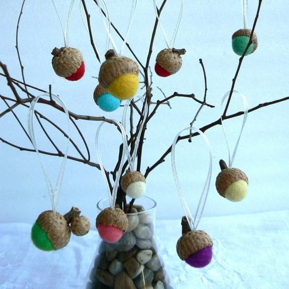 10 Colorful Acorn Decorations w Organza ribbon w by Fairyfolk,