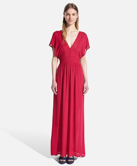 Etaminowa sukienka z haftem - OYSHO