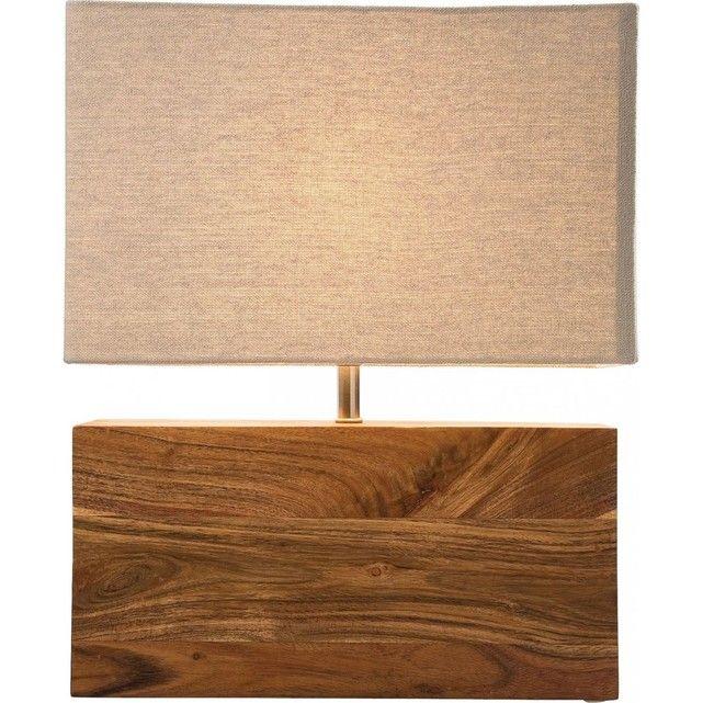 Lampe de Table Nature Rectangulaire Kare Design KARE DESIGN : prix, avis & notation, livraison.  Lampe qui allie parfaitement des lignes modernes très pures et la chaleur du bois. Sa conception très simple et claire ainsi que sa lumière douce et non éblouissante en font un luminaire magnifique Hauteur : 43 cmLargeur : 10 cmLongueur : 33 cmMateriaux : bois (acacia), acier, tissu (coton), 1xE27 max 60WPoids : 4 kgTaille : 33 cm