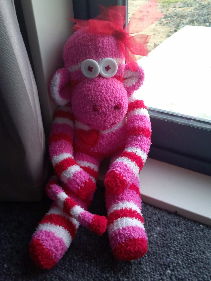 Sock Monkey i made for Valentines Day check out my facebook page www.facebook.com/bdmadebyme to look at more of my creations . . . Thanks :)