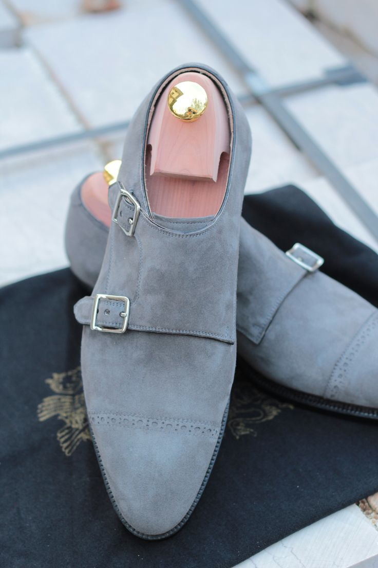 Gray suede double monk strap shoes for men
