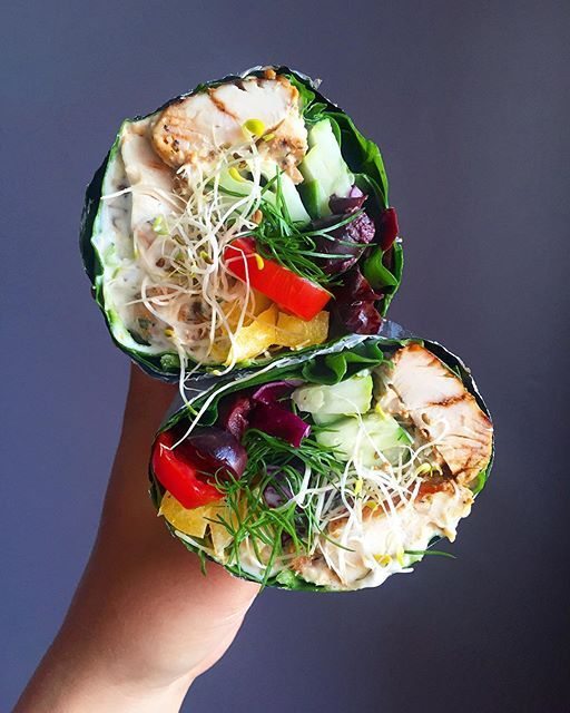 Greek Chicken Souvlaki Style Swiss Chard Wrap With Olives, Garlicky Mayo, Cucumbers, Peppers, Tomato And Fresh Dill