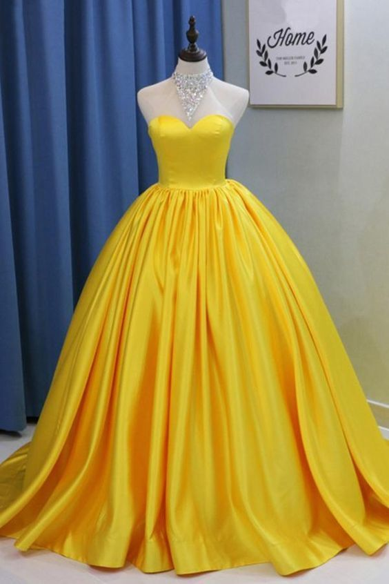 Yellow Ball Gown High Neck Prom Dress with Beading, Long