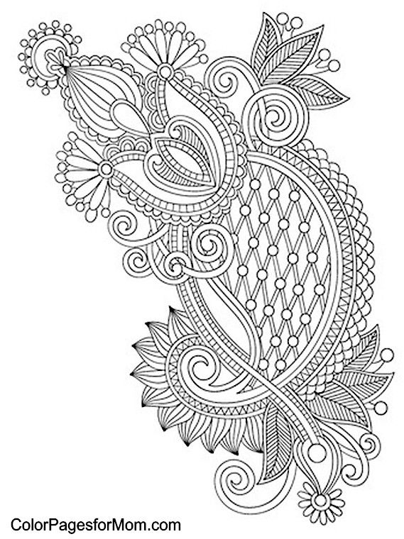 Paisley abstract doodle zentangle coloring pages colouring for Paisley elephant coloring pages