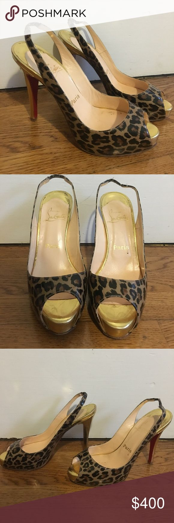 Christian Louboutin pumps Authentic. Cheetah print and gold pumps with approx 4 inch heels. Light wear with small scuffs on back of heels as pictured. Christian Louboutin Shoes Heels