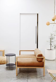 Modern leather and wood sofa