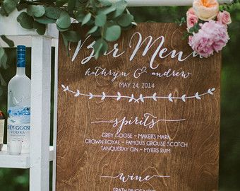 Bar Menu Signature Drinks Wooden Wedding Signs by PaperandPineCo
