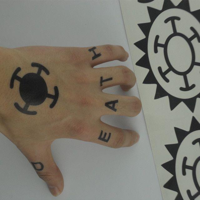 Hot Anime One Piece Sticker Trafalgar Law Cosplay Tattoo Trafalgar D Water Law Logo Tatoo Review One Piece Tattoos Law Tattoo Tattoos