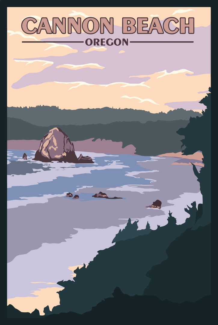 Cannon Beach Or Vintage Travel Poster