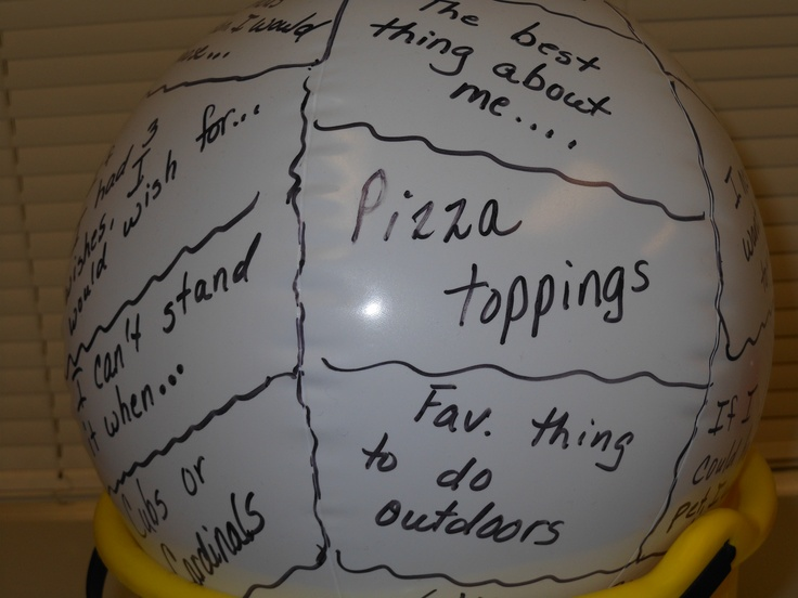 "To start off a program, we like for the children to ""introduce"" themselves.  Sometimes that's hard and embarrassing if you don't know what to say.  To break the ice, we sometimes use this beach ball with random lines drawn and random phrases on it.  Toss the ball to a child.  Wherever the child's right (or left) thumb lands, that is the sentence starter.  Child says his/her name and then finishes the sentence before tossing the ball to someone else.  Much more fun than the usual…"