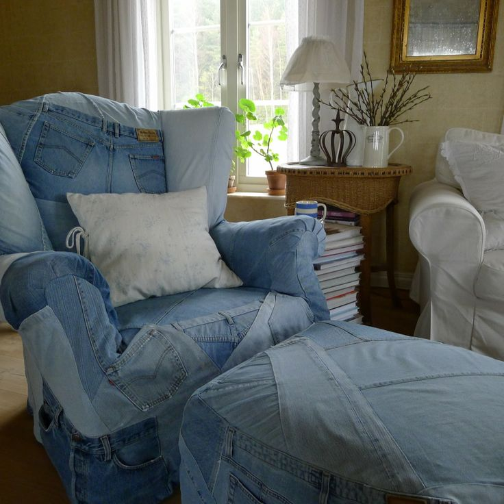 Denim Chair And Ottoman Slipcovers By Mia In Norway