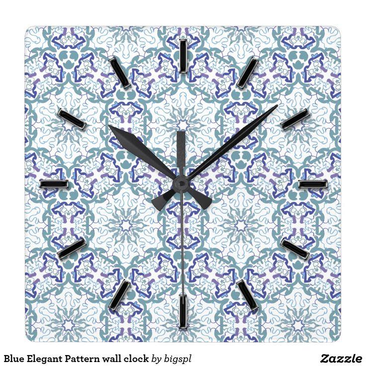 Blue Elegant Pattern wall clock