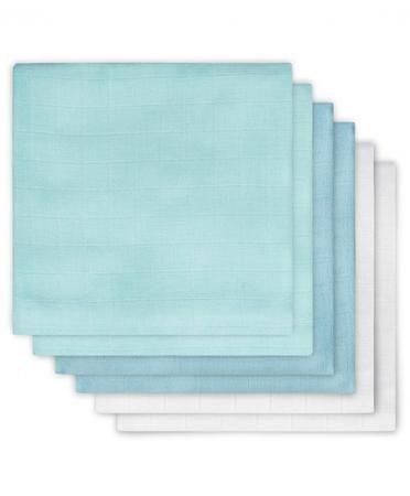 Jollein многоцелевые муслин 70х70 см 6 шт. мята-лагуна-белая  — 1450р.  Комплект многоцелевых пеленок 70х70 см 6 шт. Jollein сделан из мягкой дышащей ткани - муслина. Пеленки идеально подойдут для каждодневного использования: во время кормления, переодевания, в качестве пеленок-подгузников, легкого одеяла или накидки.