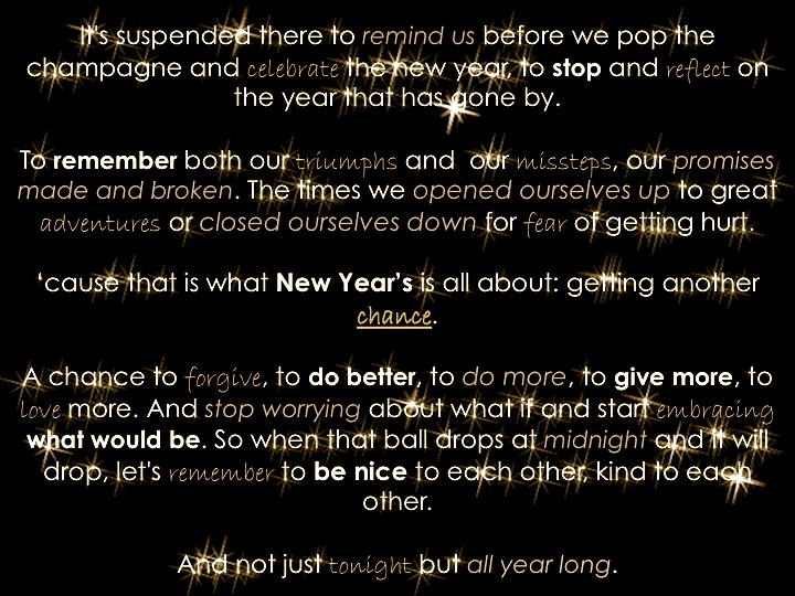 """Created by @kylepwill- Hillary Swank's speech from """"New Year's Eve"""" - want to see this movie"""