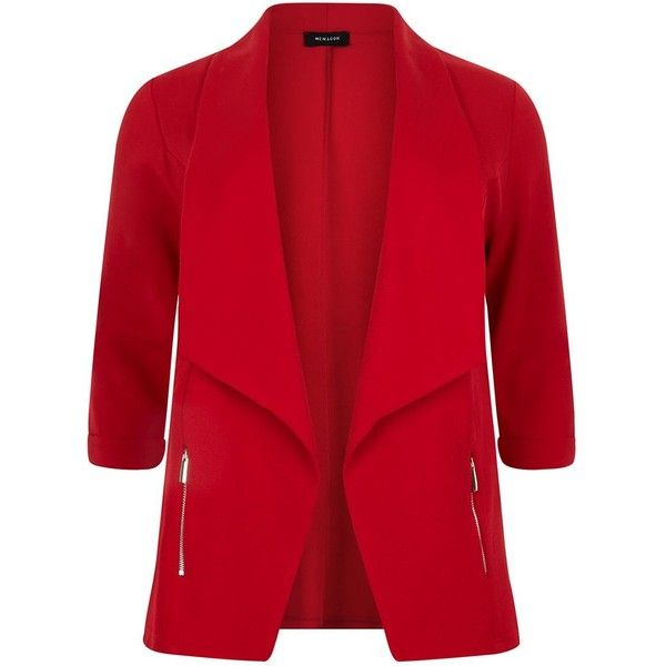 Plus Size Red Zip Pocket Blazer ($33) ❤ liked on Polyvore featuring outerwear…