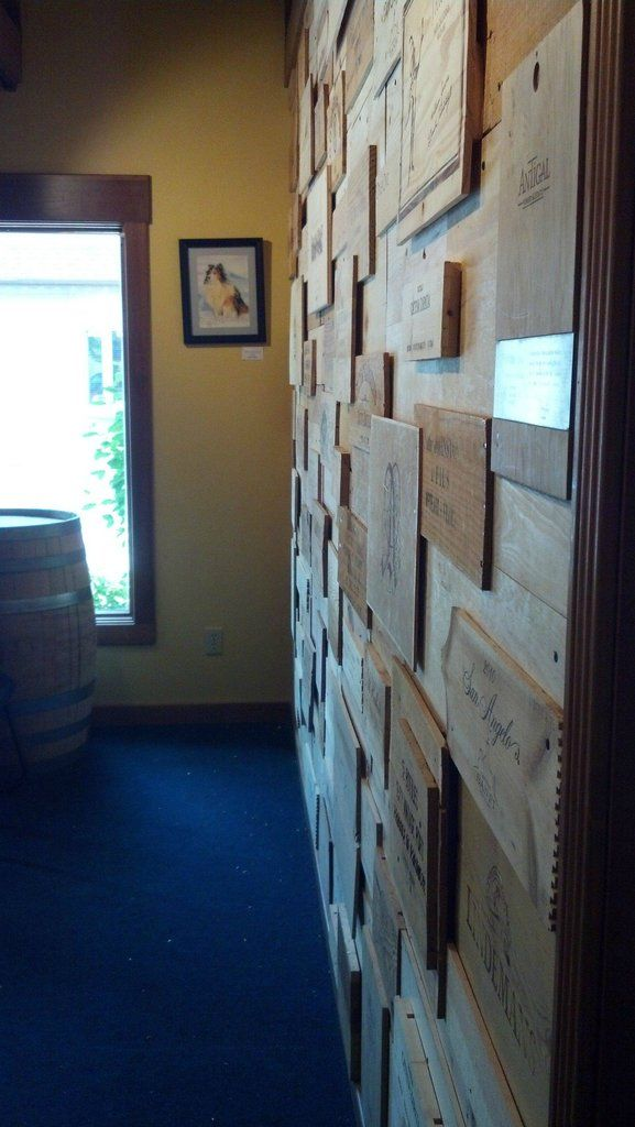wine box wall - side view