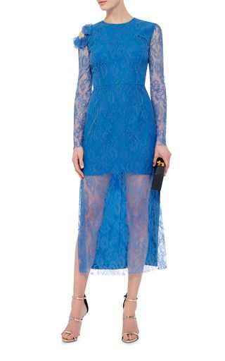 From the British mixmasters comes this electric blue **Preen by Thornton Bregazzi** dress in a pencil silhouette with sheer lace sleeves and skirt detail.