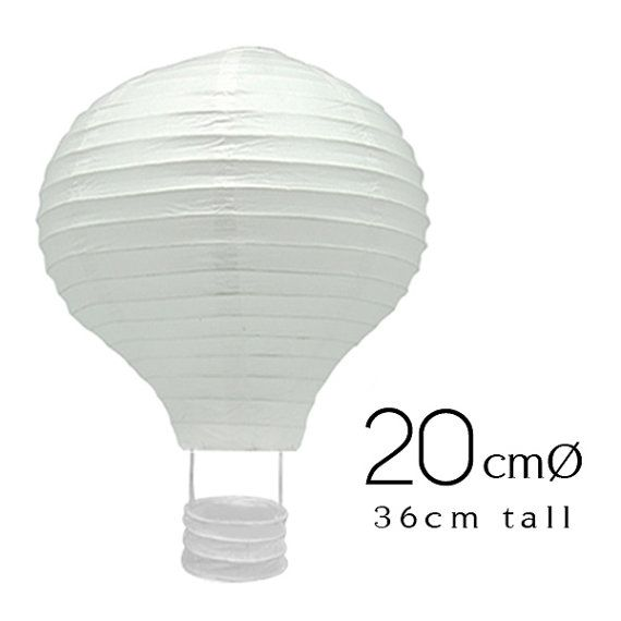 Products : Hot Air Balloon Paper Lanterns ((Lighting is not included)  Quantities : 6 pieces  Size : 20 Ø x 26 H cm (approx.)  Color : WHITE   ٭Kindly