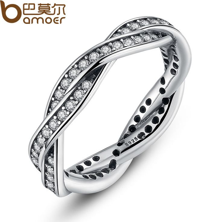Bamoer 8 stijl gevlochten pave, BLADEREN Mijn Prinses Koningin Kroon ZILVEREN RING Twist Van Fate Stapelbaar Ring Sieraden voor Vrouwen Party