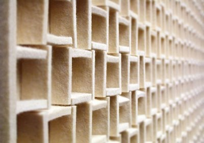 FELT walls by Seattle-based Submaterial for contrast. These peices are hand-cut and assembled on plywood.