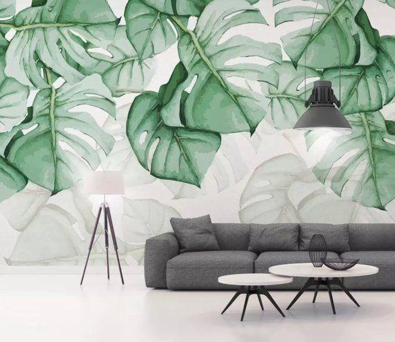 Leaf Wallpaper Palm Tree Wall Murals Tropical Leaves Wall Decor