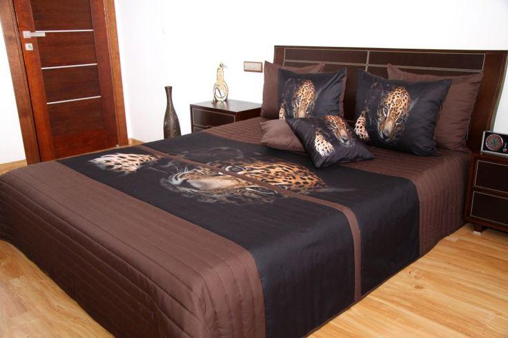 3D přehozy na postel hnědé barvy s potiskem leoparda