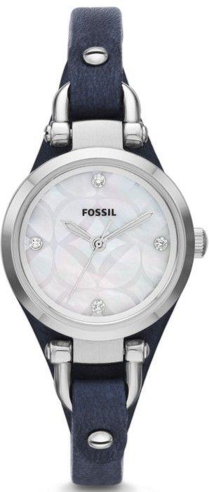 #Fossil #Watch , Georgia Three-Hand Leather Watch - Blue ES3429