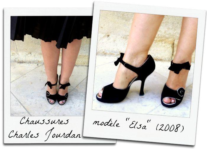 Chaussures noires inspirées d'un modèle porté par Mistinguett de la marque Charles Jourdan, made in France. Modèle Elsa, 2008