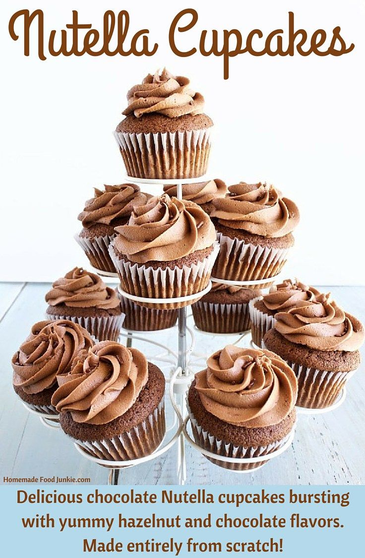 Nutella Cupcakes made entirely from scratch and filled with more Nutella. So rich and creamy!! http://homemadefoodjunkie.com