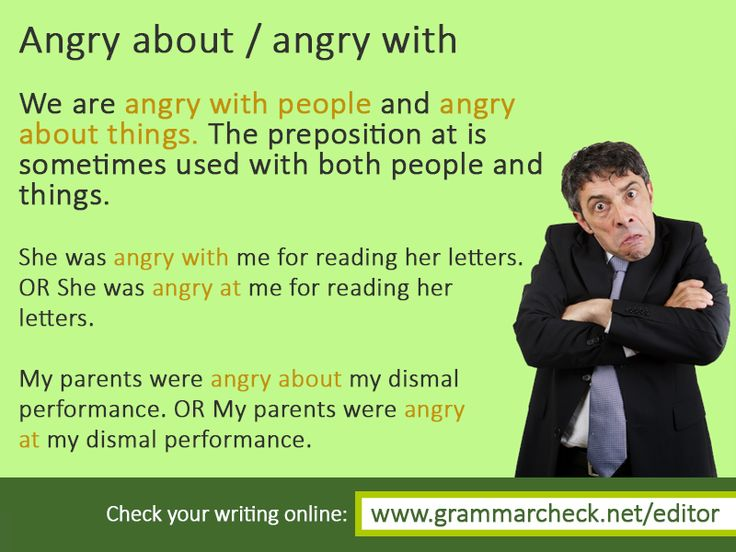 Angry about / angry with