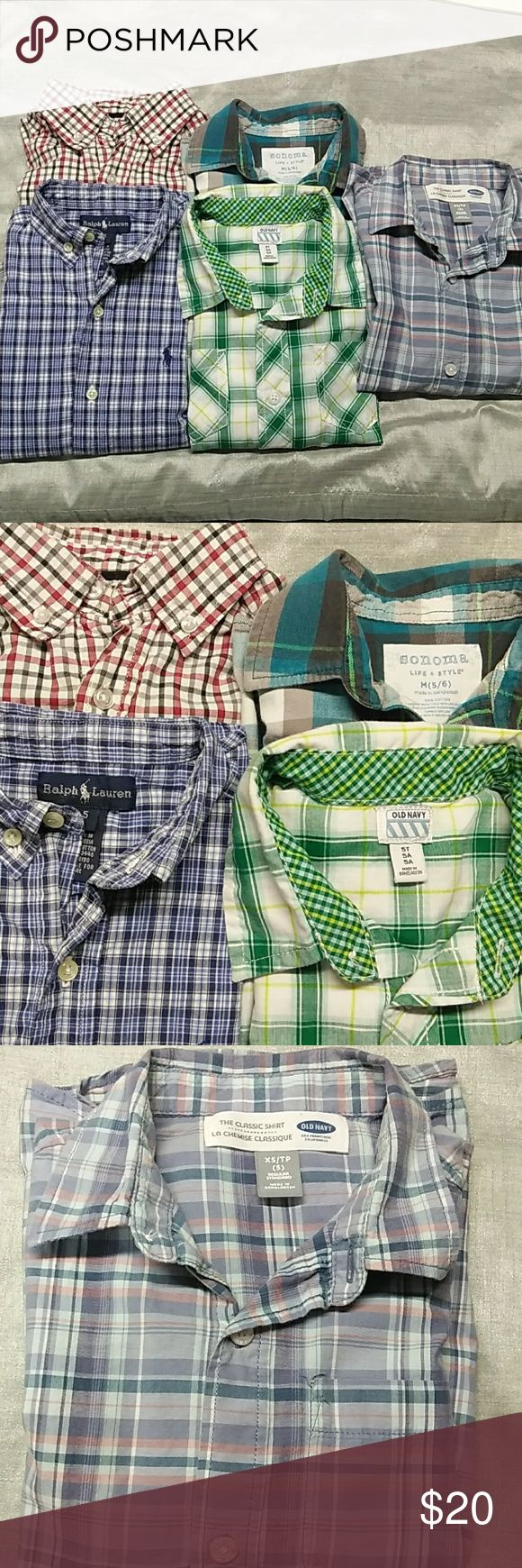 5 Pieces 5T long sleeve Polo shirts Ralph Lauren: checkered blue Old Navy: 2 Polo shirts checkered  Sonoma:2 pockets with buttons front Eat.  1989: checkered  red black and white Ralph Lauren, Old Navy, Sonoma, Est.1989 Shirts & Tops Polos