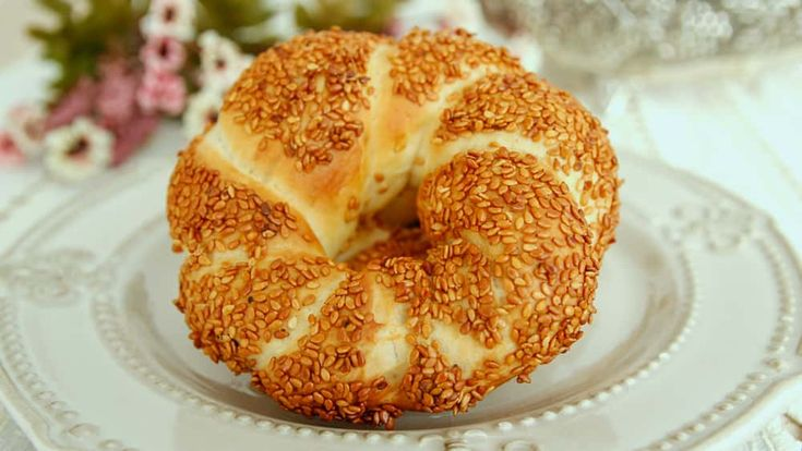 Simit Recipe - Turkish Sesame Bagels - You can have simit for breakfast with a cup of tea, sliced cucumber, tomatoes, feta cheese and olives.