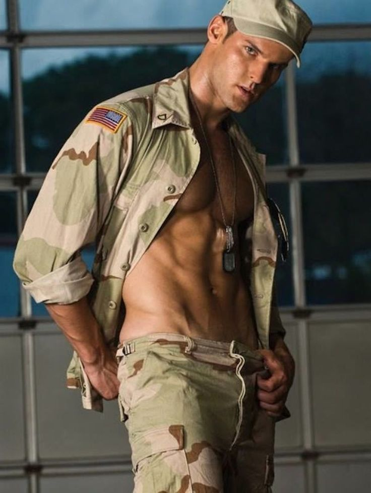 Naked straight men in uniform
