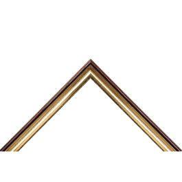 Narrow Gold är en smal och hög ramlist med ett bra falsdjup på hela 17 mm. Det gör att ramen passar bra till de flesta typer av inramningar. Färgerna är mörkbrun och förgylld framkant i guld. Ett bra alternativ när man vill ha en behaglig varm brun färg, och lite extra lyx med en guldförgyllning. Alltid hög kvalité. Svensk tillverkning. Bredd: 19 mm. Höjd: 29 mm. Falsdjup: 17 mm.