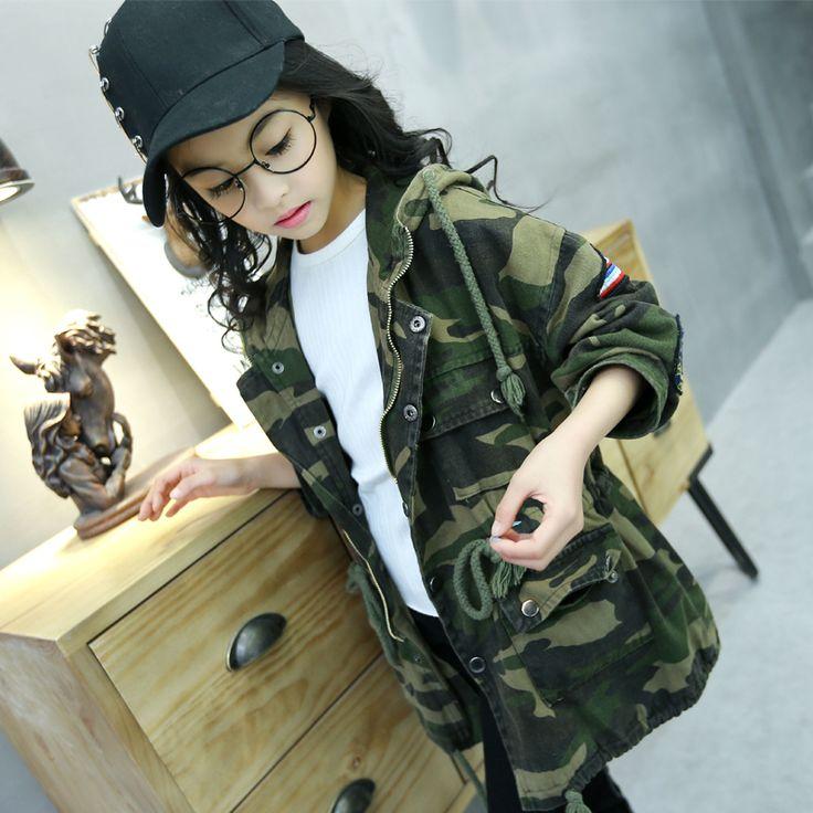 >> Click to Buy << Girls Trench Coat Autumn 2017 Kids Girls Camouflage Jacket Children Long Coat Kids Girls Jackets and Coats Teenage Girls Outwear #Affiliate