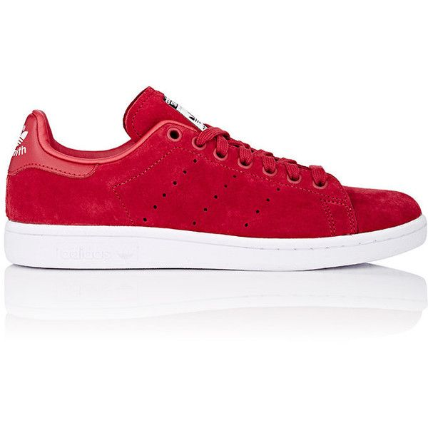 adidas Women's Stan Smith Sneakers (155 BGN) ❤ liked on Polyvore featuring shoes, sneakers, red, red trainer, perforated leather sneakers, leather sneakers, adidas shoes and leather shoes