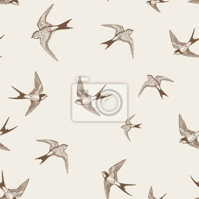 Wall Mural vintage pattern with white lit swallows