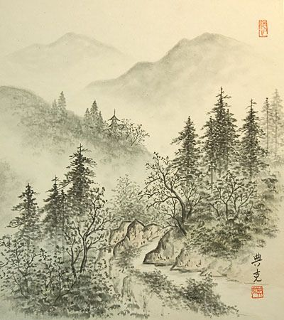 Vintage Japanese Shikishi Art Print - Landscape Sumi-e by softypapa, via Flickr