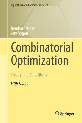 Combinatorial Optimization: Theory and Algorithms (Algorithms and Combinatorics):   This comprehensive textbook on combinatorial optimization places special emphasis on theoretical results and algorithms with provably good performance, in contrast to heuristics. It is based on numerous courses on combinatorial optimization and specialized topics, mostly at graduate level. This book reviews the fundamentals, covers the classical topics (paths, flows, matching, matroids, NP-completeness,...