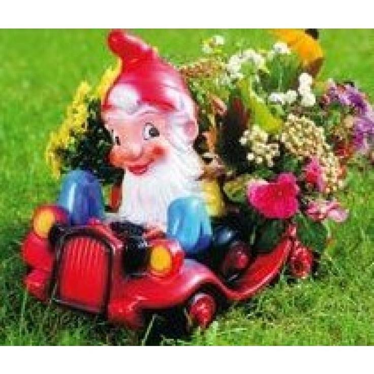 Gnome In Garden: Garden Gnome In Plantable Car, Garden Gnome, Dwarf, Gnome